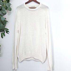 Vintage Lord Jeff White Crewneck Cotton Sweater